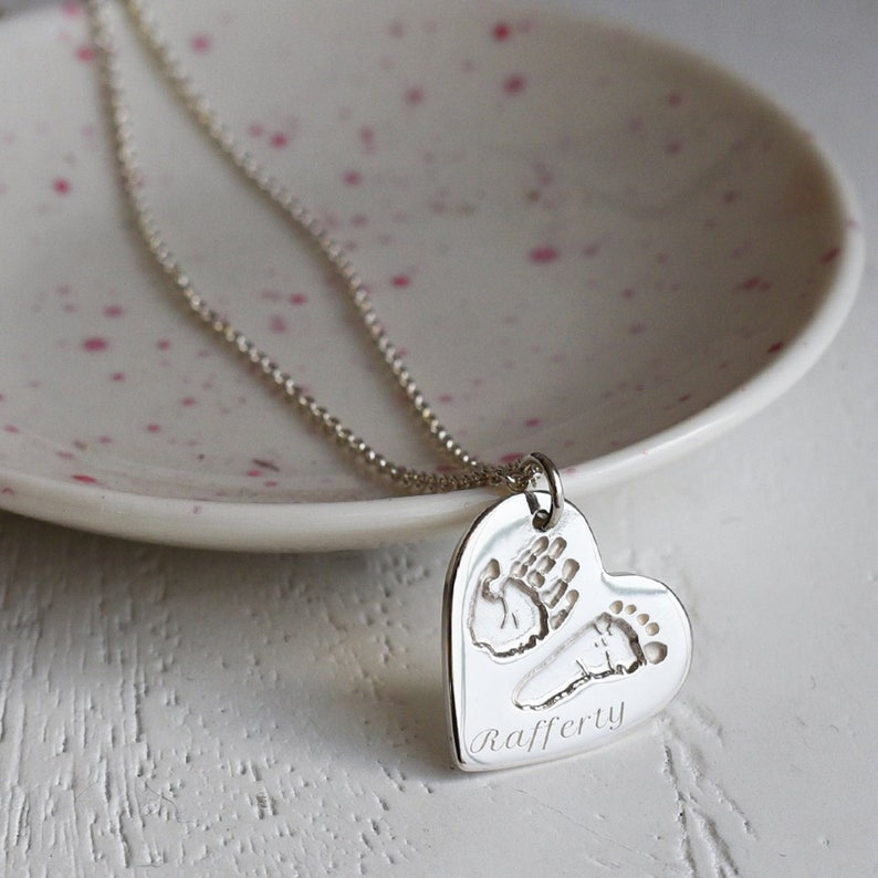 a1dc24f2f Silver Handprint & Footprint Heart Charm Necklace | Etsy