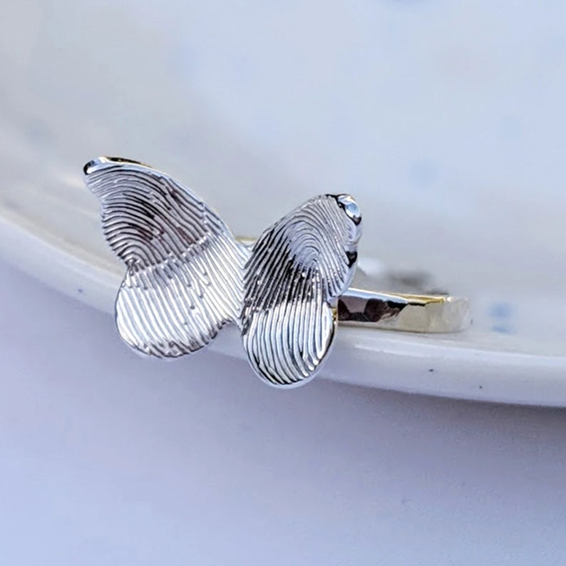 Personalised Silver Fingerprint Butterfly Ring