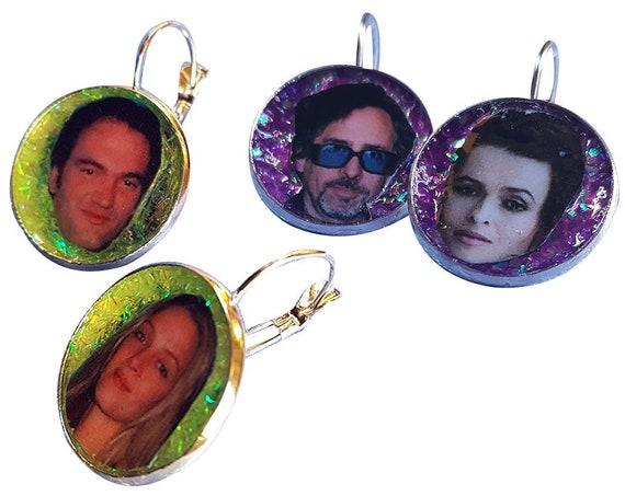 Tim Burton + Helena Bonham Carter and Quentin Tarantino + Uma Thurman glitter earring