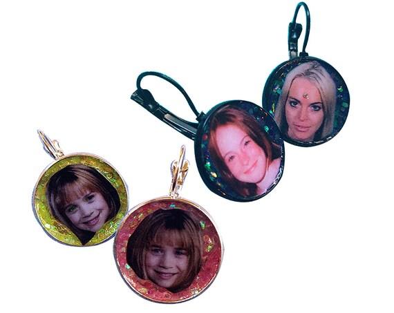 LINDSAY LOHAN  handmade glitter earring