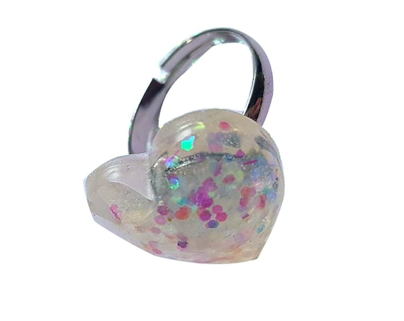 glitter ring heart shaped