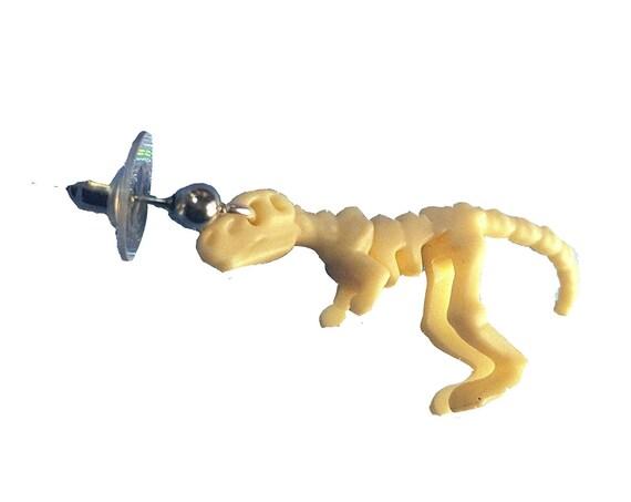 80s little toy T-Rex skeleton earring