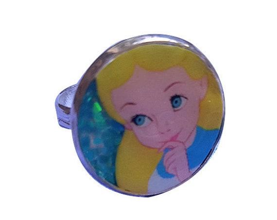 ALICE in wonderland glitter ring