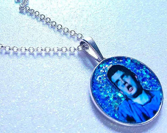 Ian Curtis glitter velvet necklace