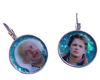 Back To The Future glitter earring
