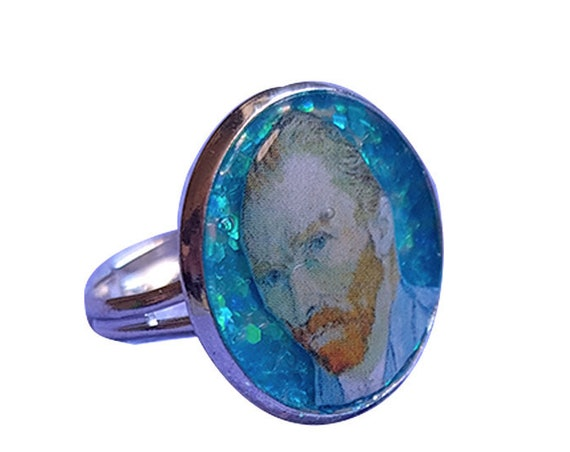 Glitter ring with VAN GOGH
