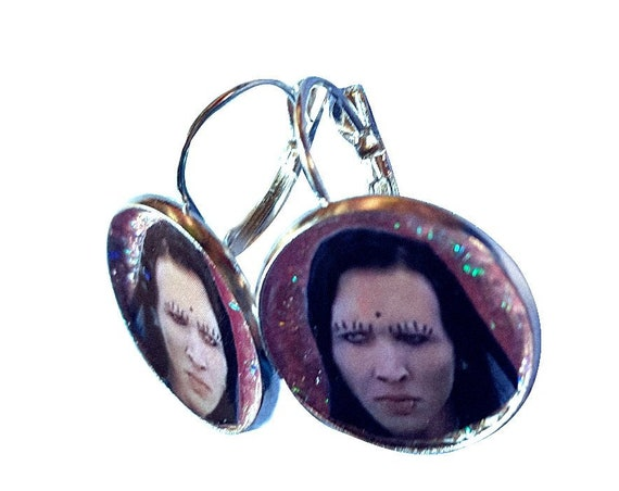 MARILYN MANSON face glitter necklace and earring