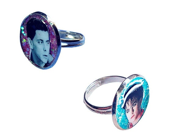 Robert Smith ( The Cure ) / Lou Reed handmade glitter ring
