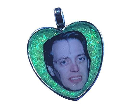 STEVE BUSCEMI heart shaped charm necklace with silver chain