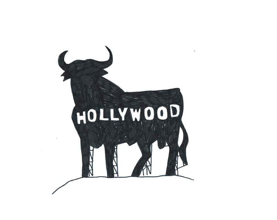 A4  plastic-coated PRINT signed edition of 5  HOLLYWOOD