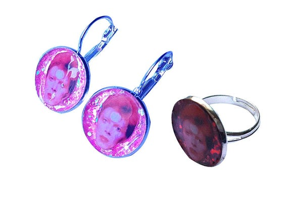 DAVID BOWIE glitter earring and ring