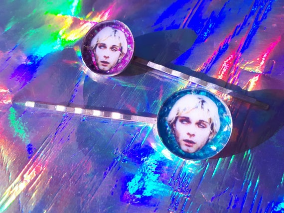 E.T. and Michael Jackson / white stripes / Kurt Cobain glitter hairpin