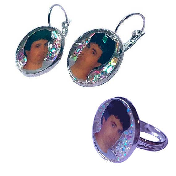 DANIEL JOHNSTON glitter earring and ring