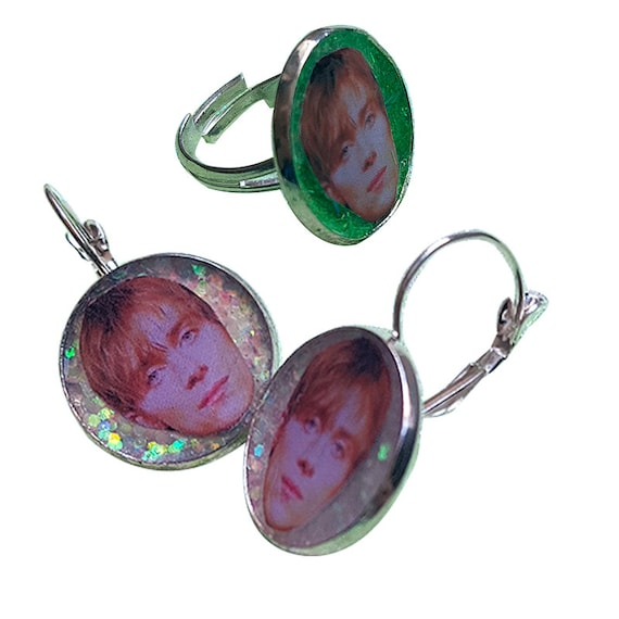 DAMON ALBARN glitter earring and ring