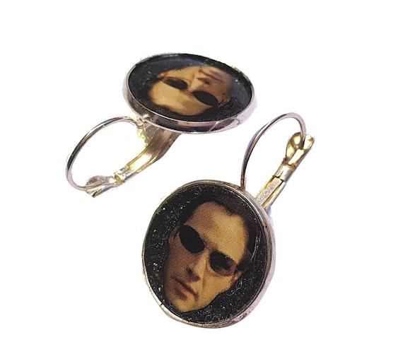 Neo matrix glitter earring