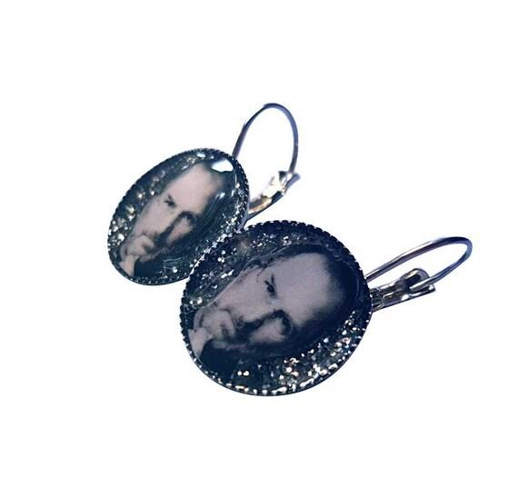 STEVE JOBS  handmade glitter earring