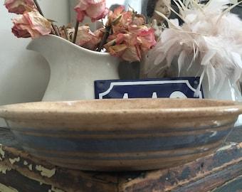 Sale// Antique// Primitive// Stoneware// Pie Plate// Triple Blue Stripe// Very Darkened u0026 Tea Stained// Blue Loveru0027s// Oldie! & Stoneware pie plate | Etsy
