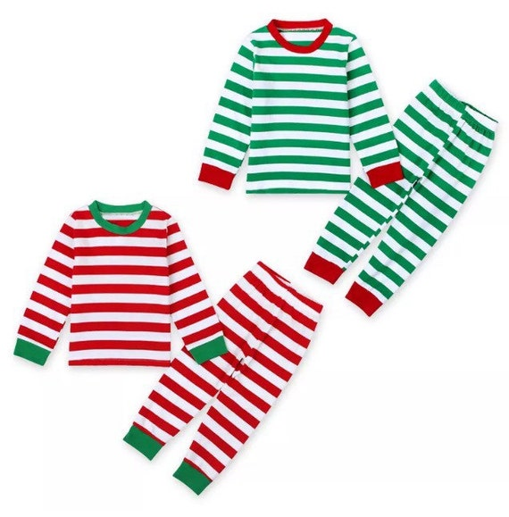 Striped Christmas Pajamas Red or Green  3caf37d7a418