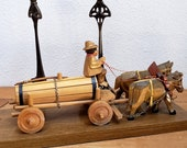 Vintage Wooden Horse Drawn Wagon Souvenir of Germany Shelf Mantle Putz Display Figurine Mounted Toy