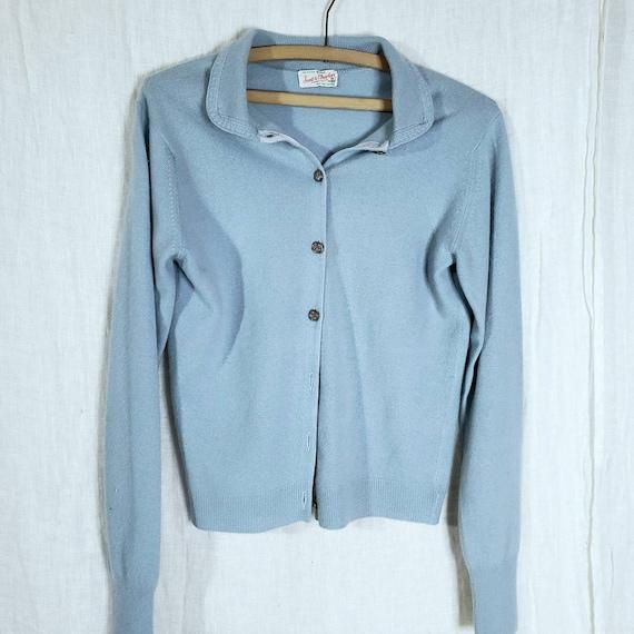 Irish 100% Cashmere Cardigan Sweater Powder Blue M