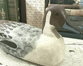 Vintage Artisan Handcarved Painted Wooden Duck Decoy Pintail Drake N Nelson 1988