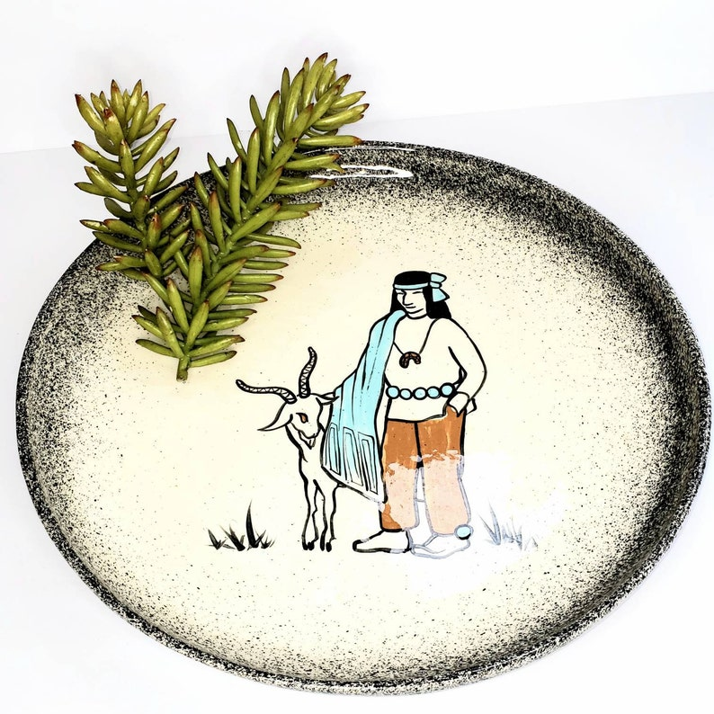 Large Round Platter w Navajo Man and Goat Colorado