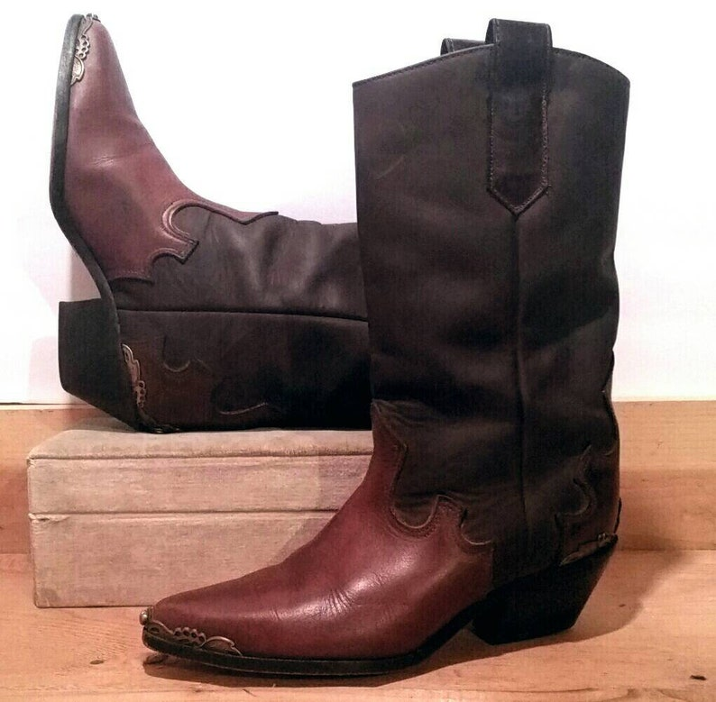 48a39c61555 Vintage 80s Zodiac USA Boots Leather Cowgirl Swag Western Wear Boho Prairie  7 1/2 M
