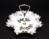 Vintage Fenton Glass Silver Crest Bon Bon Dish Violets in the Snow with Metal Handle, Milk Glass Serving Tray Ruffle Bowl Cottage Chic Decor