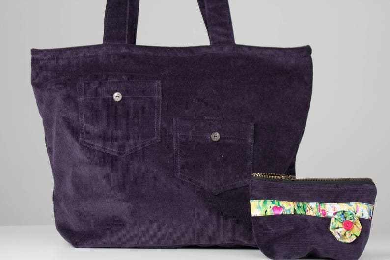 c5ffdd7f9bb7 Dark Purple Corduroy Tote Bag with colorful lining