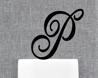 personalized letter p cake topper couples initial cake topper wedding monogram cake topper engaged cake topper happy birthday cake topper