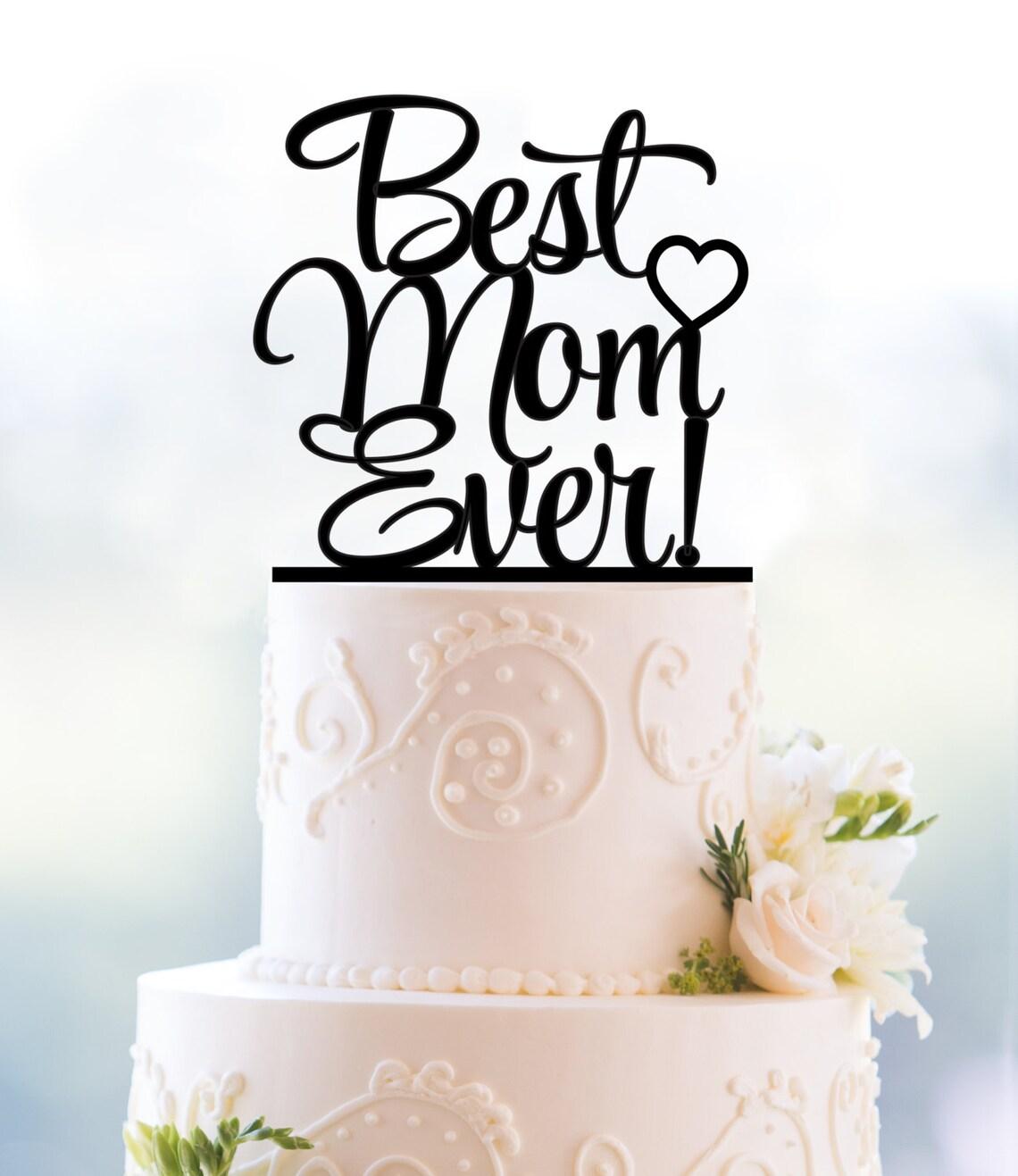 Cursive Mothers Day Cake Topper Moms Birthday Cake Topper