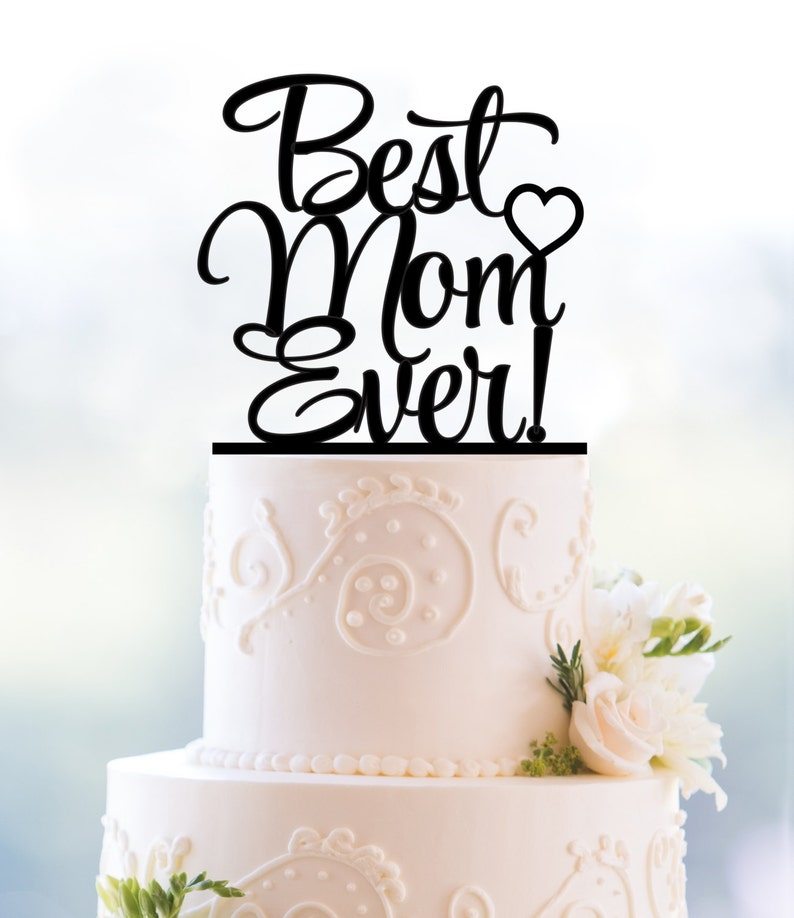 Cursive Mothers Day Cake Topper Moms Birthday