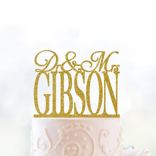 Glitter Dr and Mrs Cake Topper Doctor Wedding Cake Topper | Etsy