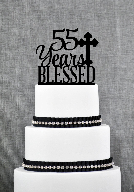 Custom 55 Years Blessed Cake Topper 55th Birthday