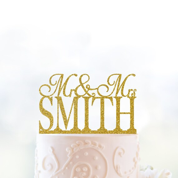 Glitter Mr and Mrs Cake Topper Personalized Wedding Name Cake | Etsy