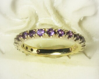 Gemstone Eternity Band, Customized, 14K Gold Anniversary Band, Wedding Ring