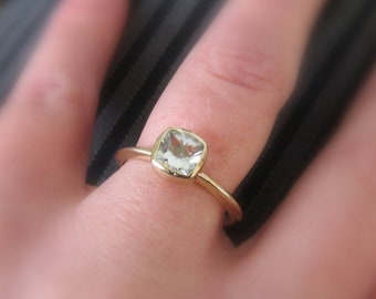 Moissanite 14K Gold Ring, Cushion Cut Forever One 14K White, Yellow, or Rose Gold