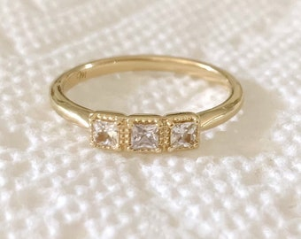 Princess Cut White Sapphire Ring, Size 7, 14K Yellow Gold, 3 Stone Anniversary Band