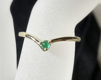 "Emerald ""V"" Ring, 14K Gold, Chevron Ring, Contour Band, 14k Gold Stacking Ring"