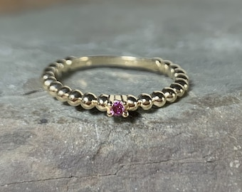 14K Gold Tiny Purple Diamond Stacking Ring, Prong Set, Beaded Band, Colored Genuine Diamond Promise Ring