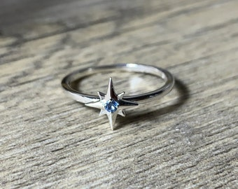Your Birthstone Ring, Aquamarine Star Ring, Petite Sterling Silver Star, Select Your Birthstone, Gift for Her