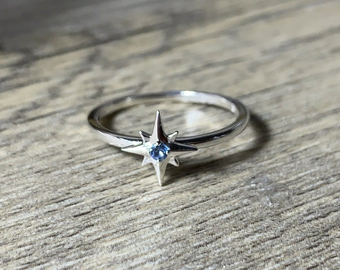 Featured listing image: Your Birthstone Ring, Aquamarine Star Ring, Petite Sterling Silver Star, Select Your Birthstone, Gift for Her