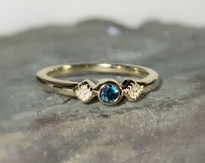 Featured listing image: Teal Blue Diamond Ring, Size 7, 14K Gold Stacking Ring, Anniversary Band, Non Traditional Wedding