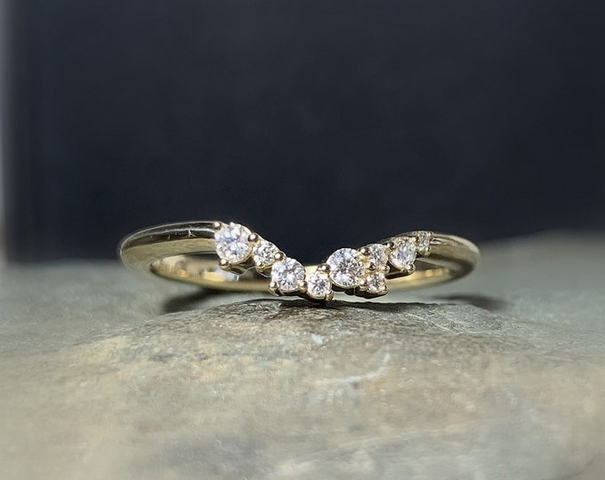 Featured listing image: Cluster Ring 14K Gold, Diamond Stacking Ring