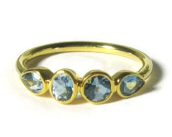 Aquamarine 14K Gold Ring, yellow, white, and rose gold, low profile, Made to Order