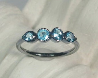 Sky Blue Topaz Multi Stone Gemstone Ring, 4 Stone Band, Oxidized Sterling Silver, Size 6.25