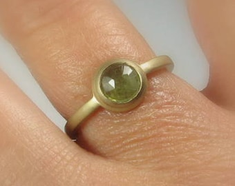Rose Cut Green Natural Sapphire 14K Gold Ring, Size 6.25, Organic Vintage Style, Ready to Ship,
