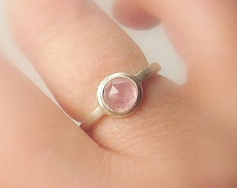 Sapphire Solitaire Sterling Silver, Pastel Rose Natural Sapphire, Ready to Ship, size 5.5, Matte Finish