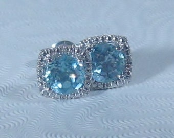 Blue Topaz Studs, Sterling Silver Post Earrings
