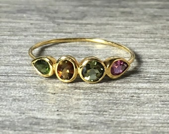 Tourmaline 14K Gold Ring, Colorful Mixed Shapes, Pear, Round, Oval, Low Profile, Anniversary Ring